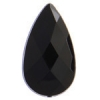 Acrylic 30x17mm Pear Shape Facetted Black